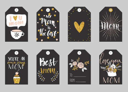 Greeting cards collection for Mothers day. Cute tags with flowers, lettering and other things on gold texture. Set of bright holiday invitations. Ilustracja