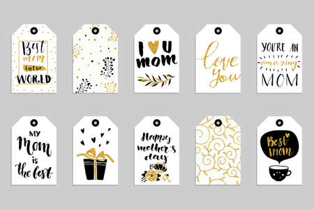 Collection of ten gold texture Happy Mothers day cute ready-to-use gift tags. Set of 10 printable hand drawn holiday label in black white and gold. Vector seasonal badge design Illustration