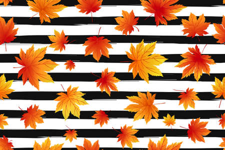 theme: Autumn seamless pattern. Bright fall leaves on striped background. Seamless texture of maple leaves.