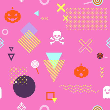 Seamless pattern background with geometric holiday elements. Abstract minimalistic flat halloween background. Vector illustration. Eps 10