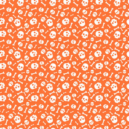 Halloween seamless pattern with skull. Perfect for wrapping paper, textile, backgrounds and much more. illustration. Illustration