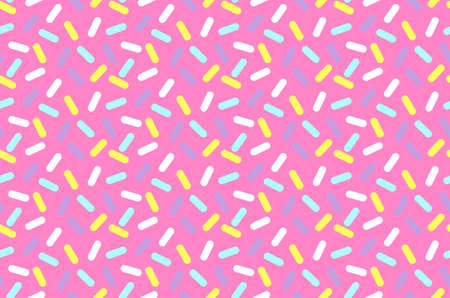 Simple geometrical seamless pattern with small bright lines and shadows. Graphic lines texture. Donut cream with many decorative sprinkles