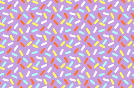nineties: Simple geometrical seamless pattern with small bright lines and shadows. Graphic lines texture. Donut cream with many decorative sprinkles