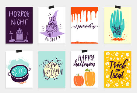 quirky: 8 Halloween Cards set in quirky cartoon doodle style. Bright colors.  lettering. Collection in cartoon comic style of 80s-90s. illustration.