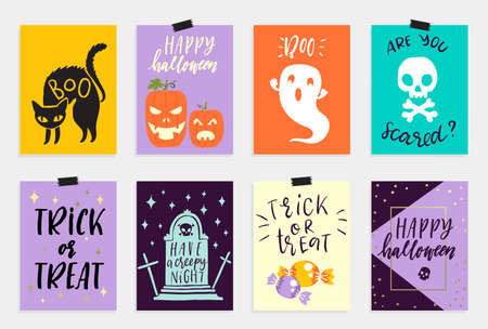 nineties: 8 Halloween Cards set in quirky cartoon doodle style. Bright colors.  lettering. Collection in cartoon comic style of 80s-90s. illustration.
