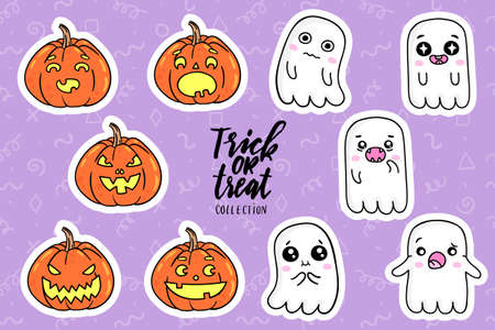 nineties: Halloween fashion quirky cartoon doodle patch badges with cute ghosts and pumpkins. illustration. Set of stickers, pins, patches in cartoon comic style of 80s-90s. collection