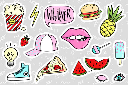 Fashion quirky cartoon doodle patch badges with cute elements. illustration isolated on background. Set of stickers, pins, patches in cartoon comic style of 80s-90s. collection