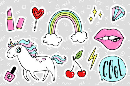 quirky: Fashion quirky cartoon doodle patch badges with cute elements.  illustration isolated on background. Set of stickers, pins, patches in cartoon comic style of 80s-90s. collection Illustration