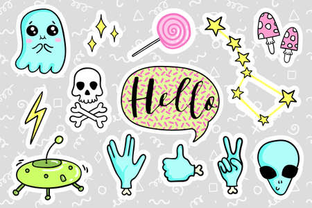 quirky: Fashion quirky cartoon doodle patch badges with cute elements. illustration isolated on background. Set of stickers, pins, patches in cartoon comic style of 80s-90s. collection