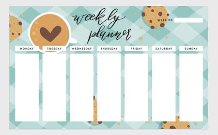 plantilla planificador semanal. Organizador y horario. ilustración. concepto linda y de moda el tema de los alimentos