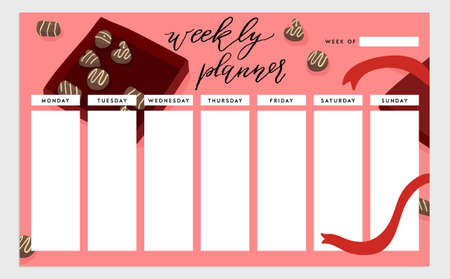 weekly planner: Weekly planner template. Organizer and schedule. isolated illustration. Cute and trendy food theme concept