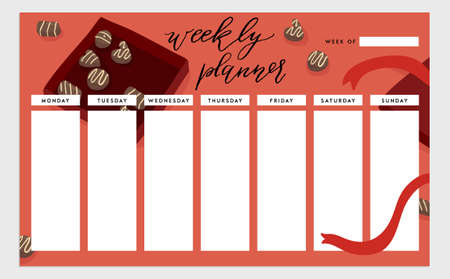 Weekly planner template. Organizer and schedule. isolated illustration. Cute and trendy food theme concept