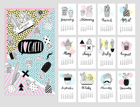 monthly planner: Calendar 2017 with cute quirky cartoon cacti stickers illustrations. calendar set with cactus succulents in minimalistic geometric scandinavian style and trendy colors. Poster card template