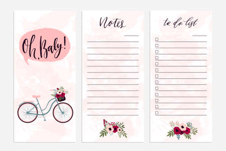 weekly planner: Notes and To Do List notebook template concept.  Isolated