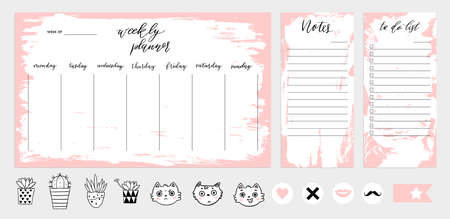 Weekly planner template concept with texture. Isolated organizer and schedule with notes and to do list.