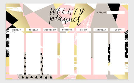 weekly planner: Weekly planner template. Organizer and schedule. isolated illustration. Cute and trendy Illustration