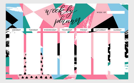 weekly: Weekly planner template. Organizer and schedule. isolated illustration. Cute and trendy Illustration