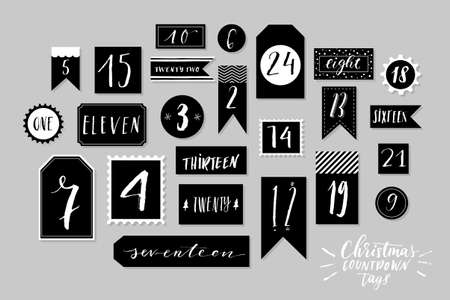 Red, blue and white colored twenty four christmas countdown printable tags collection. Count down till christmas kit. Advent calendar. Vector illustration