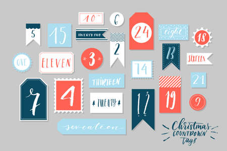 count down: Red, blue and white colored twenty four christmas countdown printable tags collection. Count down till christmas kit. Advent calendar. Vector illustration