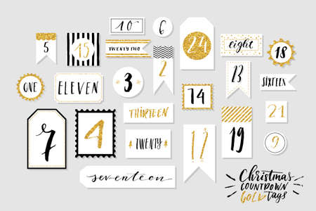 Abstract black, white and golg colored twenty four christmas countdown printable tags collection. Count down till christmas kit. Advent calendar. Vector illustration Illustration