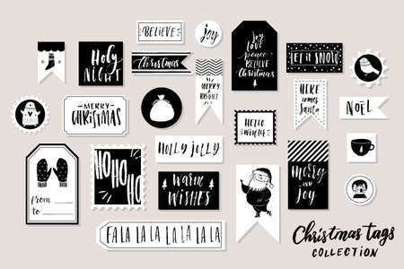 Collection Of Stylish Black White New Year And Christmas Gift