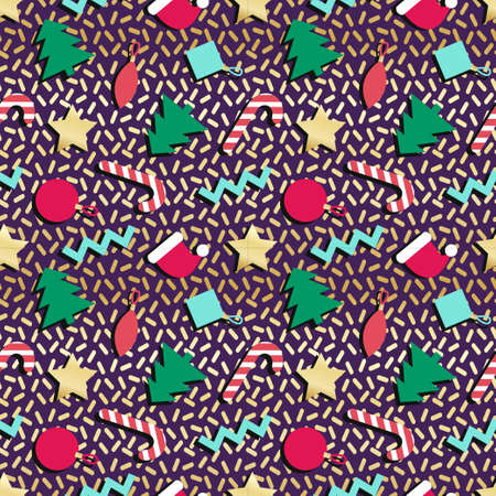 bright christmas tree: Simple winter holiday geometrical seamless pattern in retro comic style of 80s-90s with bright christmas tree candy star. Vector background perfect for wrapping paper cards wallpapers poster design