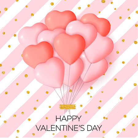 Happy Valentines day card template with cute and fancy pink, red heart balloons with lettering. It may be used for background, poster, advertising, sale, postcard, e-card. Vector illustration Ilustração
