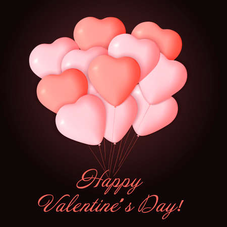 Happy Valentines day card template with cute and fancy pink, red heart balloons with lettering. It may be used for background, poster, advertising, sale, postcard, e-card. Vector illustration Illustration