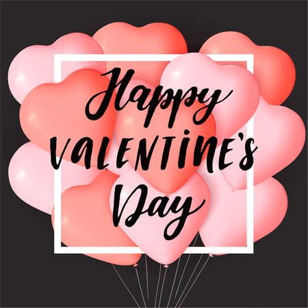 Happy Valentines day card template with cute and fancy pink, red heart balloons with lettering. It may be used for background, poster, advertising, sale, postcard, e-card. Vector illustration Çizim