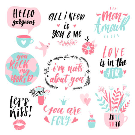 Valentine's day hand drawn calligraphy and illustration vector set. Romantic collection of holiday lettering, perfect for postcards, poster, tag, greeting cards, sticker kit Çizim