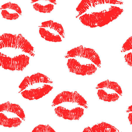 Vector pink seamless pattern background. Lips prints wrapping paper Illustration