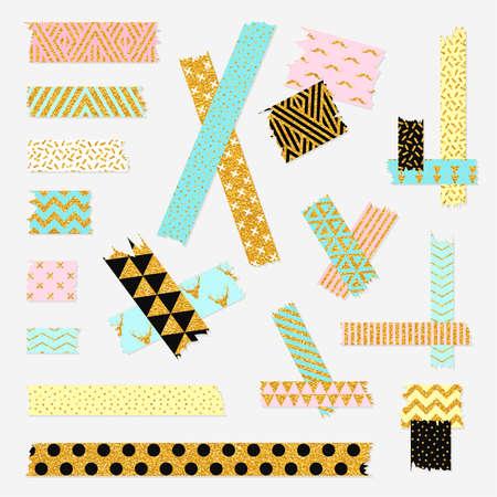 Scotch, couleur à motif adhésif collection de bandes, différents morceaux de taille isolé sur fond blanc. Vector set
