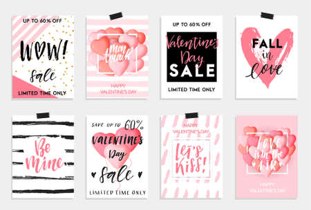 Collection of pink, black, white colored Valentines day card.