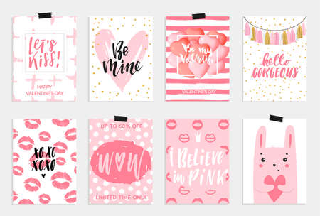 be mine: Collection of pink, black, white colored Valentines day card.