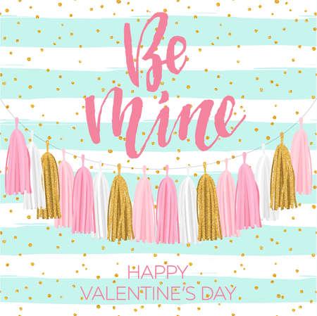 Lettering Valentine's day illustration. Tissue paper tassel garland banner