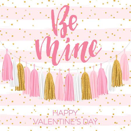 Tissue paper tassel garland banner for Valentines theme