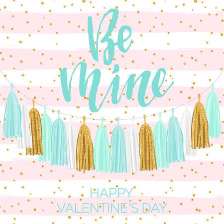 Lettering Valentines day illustration. Tissue paper tassel garland banner