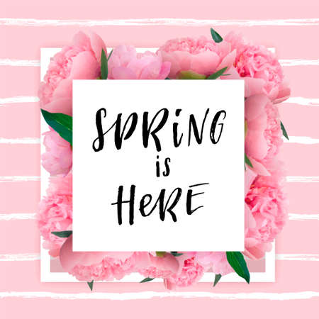 spring lettering with hand drawn letters label and banner template