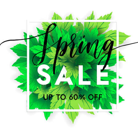 Spring sale lettering with hand drawn letters. Label and banner template with bright fresh green leaves with frame, vector illustration. Bright colorful backgroundwith gold confetti.