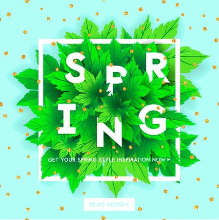 ecard: Spring sale lettering with hand drawn letters. Label and banner template with bright fresh green leaves with frame, vector illustration. Bright colorful background with gold confetti. Illustration
