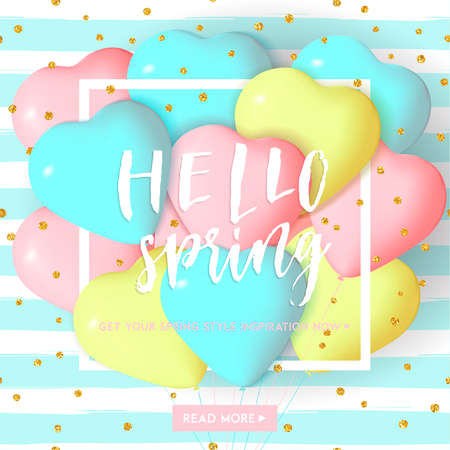 yellow card: Bright spring striped card template with heart shape balloons and hand drawn lettering. Pink blue yellow colored template with gold confetti. Perfect for sale flyer, poster, e-card, banner, tag design Illustration