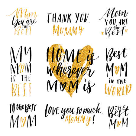 Mothers day hand drawn calligraphy vector set. Ellegant collection of holiday lettering, perfect for postcards, poster, tag, greeting cards, sticker kit. Glitter, black and white colors