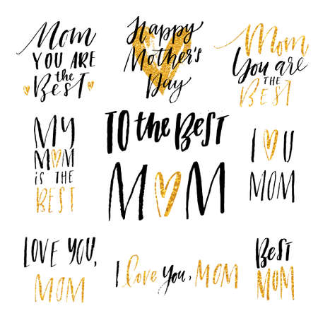 white sticker: Mothers day hand drawn calligraphy vector set. Ellegant collection of holiday lettering, perfect for postcards, poster, tag, greeting cards, sticker kit. Glitter, black and white colors