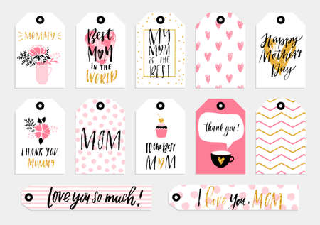 Collection of 12 gold textured Happy Mothers day cute ready-to-use tags. Set of 12printable hand drawn holiday tags in black pink and gold