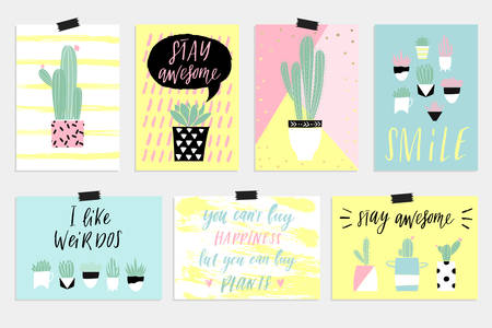 summer greeting cards and posters with fun elements hand drawn lettering and textures great - Discount Greeting Cards