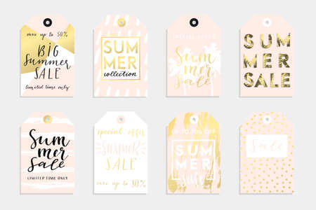 Cute summer tags set for your product with abstract textures, sale lettering and much more. Vector collection with hand drawn elements Illustration