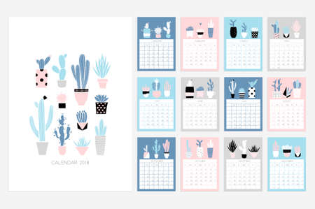 Calendar 2018. Stock vector. Fun and cute calendar with hand drawn succulents and cactus plants. Pink blue grey white Ilustração