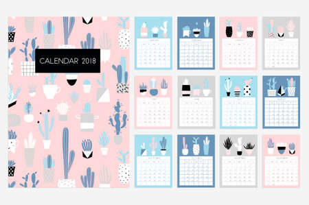 Calendar 2018. Stock vector. Fun and cute calendar with hand drawn succulents and cactus plants. Pink blue grey white Stock Illustratie