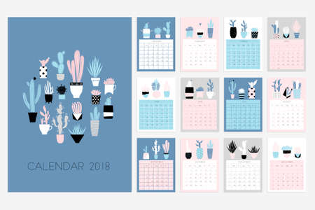 Calendar 2018. Stock vector. Fun and cute calendar with hand drawn succulents and cactus plants. Pink blue grey white Illustration