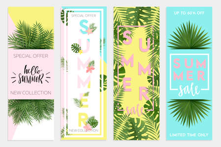 Summer sale banners,Wallpaper, flyers, invitation, posters, brochure, voucher discount. Vector illustration template.